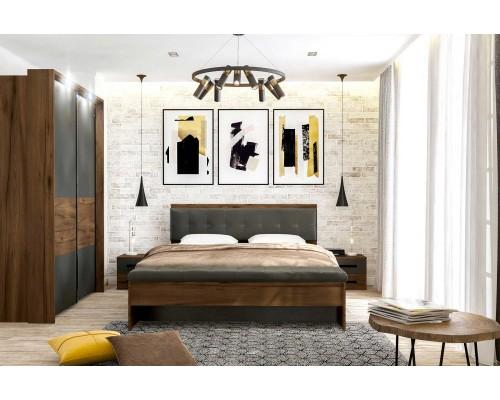 Спальный гарнитур Глазго (шкаф, кровать, тумба) Графит / Таксония
