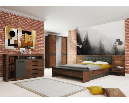 Спальный гарнитур Глазго (шкаф 3x, кровать, тумба, комод) Графит / Таксония